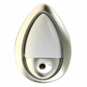 """Ночник """"Светлячок"""" с датчиком освещения. 3_LED х 1 Вт. 10 см (220В) серебристый"""