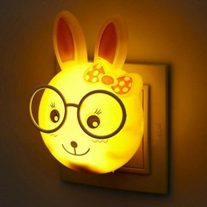 """Ночник LED """"Умный Зайчонок"""".12 см. 4W с фотоэлементом (V220) МИКС. пластик"""