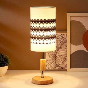 Лампа настольная 16010/1 E14 40Вт дерево-хром 12.5х12.5х39 см