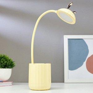 Лампа настольная сенсорная 16090/1YL 18хLED 4Вт USB АКБ 3000-6000К желтый 8х8х44 см