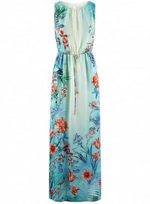 Платье макси с резинкой на талии и завязками