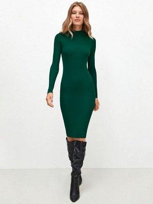 Платье жен. темно-зеленый трикотажное
