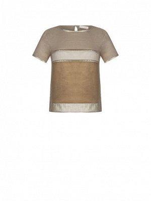 Блуза Rinas.cimento Цвет: Camel Beige 90%Polyester-10%Elastane Decoration:79%Viscose-21%Polyester