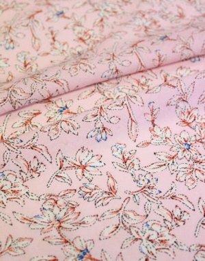 """Штапель """"Клематис на нежно-розовом"""", 1.44м, вискоза-100%, 110гр/м.кв"""