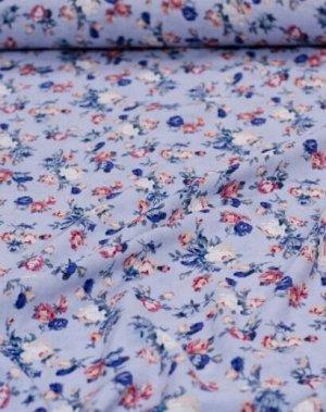 "Штапель ""Винтажные букетики из роз на винтажно-голубом"", ш.1.43м, вискоза-100%, 95гр/м.кв"