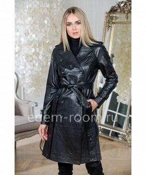 Чёрный кожаный плащАртикул: M-15100-100-CH