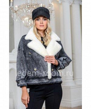 Утеплённая джинсовая куртка с мехом норкиАртикул: 149-60-SR-BL-N