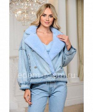 Теплая джинсовая куртка -косуха с мехом норкиАртикул: 149-60-GL-GL-N