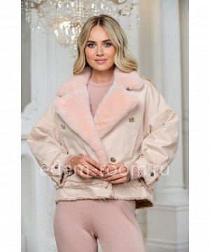 Джинсовая куртка - косуха с мехом норкиАртикул: 149-60-P-N