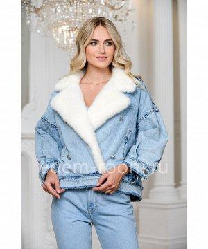Джинсовая куртка - косуха с меховым воротникомАртикул: 149-60-GL-BL-N