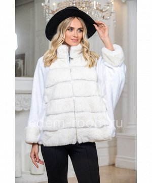 Белая куртка из кролика и трикотажаАртикул: 623-60-KR