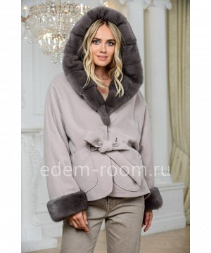 Пальто - пончо с мехом норкиАртикул: AL-167-2-70-KP-N