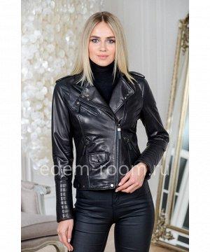 Черная куртка кожаная на весну и осень укороченнаяАртикул: AL-2032-55