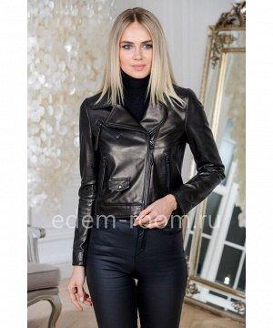 Укороченная куртка кожаная черного цветаАртикул: GL-9812-50