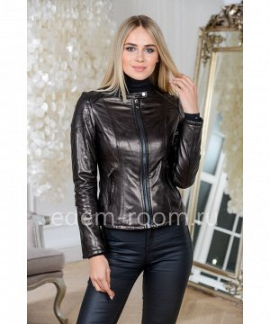 Осенне-весенняя куртка кожаная черная, короткаяАртикул: NS-8133-55-CH