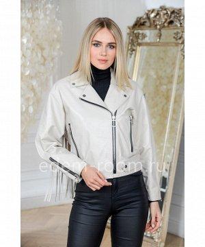 Модная куртка кожаная белого цвета укороченнаяАртикул: D-1736-50-BG