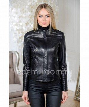 Куртка черная из натуральной кожи для девушек, укороченнаяАртикул: AL-2022-55