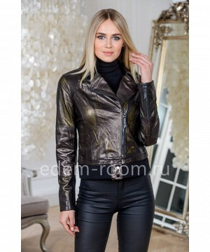 Куртка из перфорированной кожи укороченная черного цветаАртикул: AL-2021-55-CH