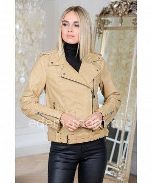 Куртка из натуральной кожи бежевого цвета из ТурцииАртикул: V-1525-55-BG