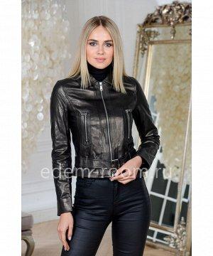 Весенняя куртка из натуральной кожи укороченная чернаяАртикул: GL-2022-50