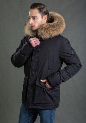 Мужская зимняя куртка с капюшоном Hermzi, цвет Black Черный
