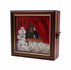 Ключница 20*20*7см 59712 J--1 Окно, красные шторы, центы, доллары