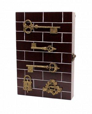 Ключница 30*20*5см KZ-40013 Ключи, замок золото, кирпичики