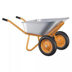 Тачка садовая Оранжевая Двухколёсная Усиленая (полиуретан колесо/грузопод 200кг/объём 100лит)