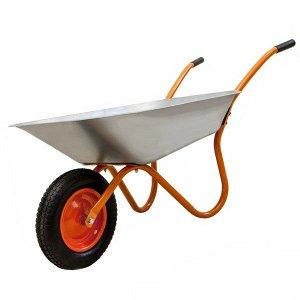Тачка садовая Оранжевая Одноколёсная (полиуретановое колесо)