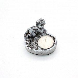 Подсвечник керамика со свечой Ангелок на сердце 497359