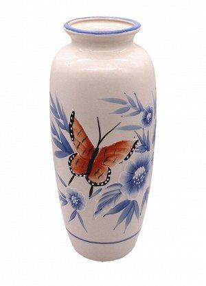 Ваза J22-a163 Цветы Голубыеи Бабочки Горло узкое