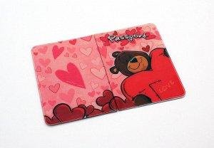 Обложка для паспорта Влюбленный мишка 13,7*9,6см 534903 пластик