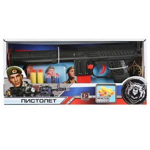 B1375182-R Пистолет с мягкими и пластиковыми пулями в русс. кор. 24,5*3,5*16,5см. Играем вместе в кор.2*60шт