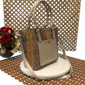 Женская сумочка Estate из натуральной кожи пшеничного цвета.