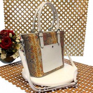 Женская сумочка Estate из натуральной кожи белого цвета.