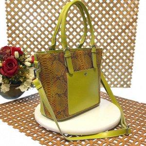 Женская сумочка Estate из натуральной кожи лаймового цвета.