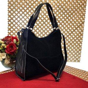 Вместительная сумка Inter_Suare формата А4 из натуральной замши и натуральной кожи черного цвета.