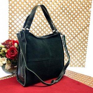 Вместительная сумка Inter_Suare формата А4 из натуральной замши и натуральной кожи изумрудного цвета.