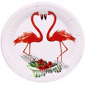 "Тарелка бумажная 18 см в наборе 10 шт ""Фламинго"""