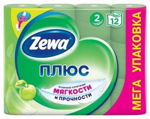 ZEWA (ЗЕВА) ПЛЮС Туалетная бумага 2-х слойная Яблоко, 12 рулонов