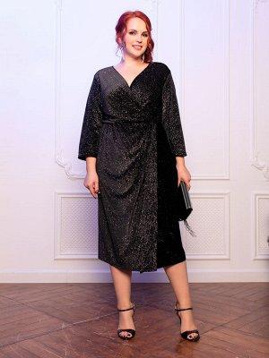 Платье 465-20 черный/бархат/блеск