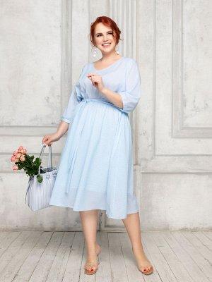 Платье 011-21 голуб/белое