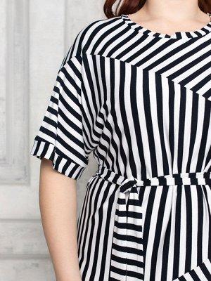 Платье 141-1 темно-синий/белый