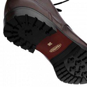 Бордовые ботинки берцы на низком каблуке. Модель 3221 б бордо наппа (демисезон)