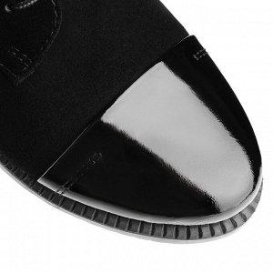 Ботинки берцы на низком каблуке. Модель 3221 б замша+лак (демисезон)