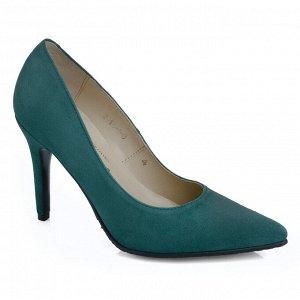 Замшевые туфли на шпильке. Модель 2315 замша изумруд