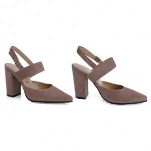 Замшевые летние туфли на устойчивом каблуке. Модель 2363 беж роз замша