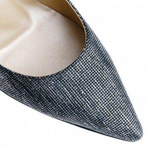 Серебряные лодочки на шпильке и с острым носом. Модель 2315 серебро сараби