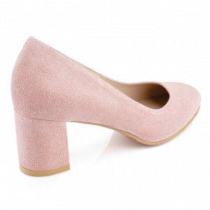 Замшевые туфли на среднем каблуке. Модель 2326 замша розовая пудра