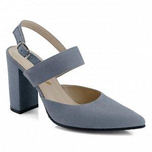Замшевые летние туфли на устойчивом каблуке. Модель 2363 серо голубая замша